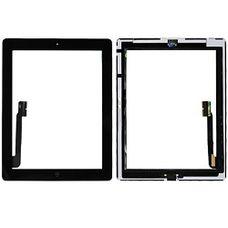 Тачскрин iPad 4 / 3 в сборе (клейкая лента + кнопка home) ЧЕРНЫЙ