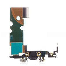 Шлейф iPhone 8 разъем зарядки (черный) ОРИГИНАЛ + микрофон