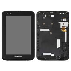 Дисплей Lenovo IdeaTab A1000 черный на ПЛАНШЕТ, В РАМКЕ ОРИГИНАЛ (экран + тачскрин, стекло)